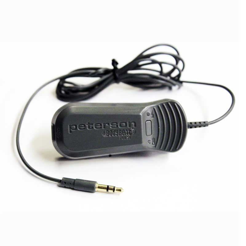 The BodyBeat Pulse™ Solo extends the extremely popular Peterson BodyBeat's tactile tempo feedback to a very affordable device that uses the audio output of any metronome app or traditional metronome that has a headphone output jack. | Peterson Strobe Tuners