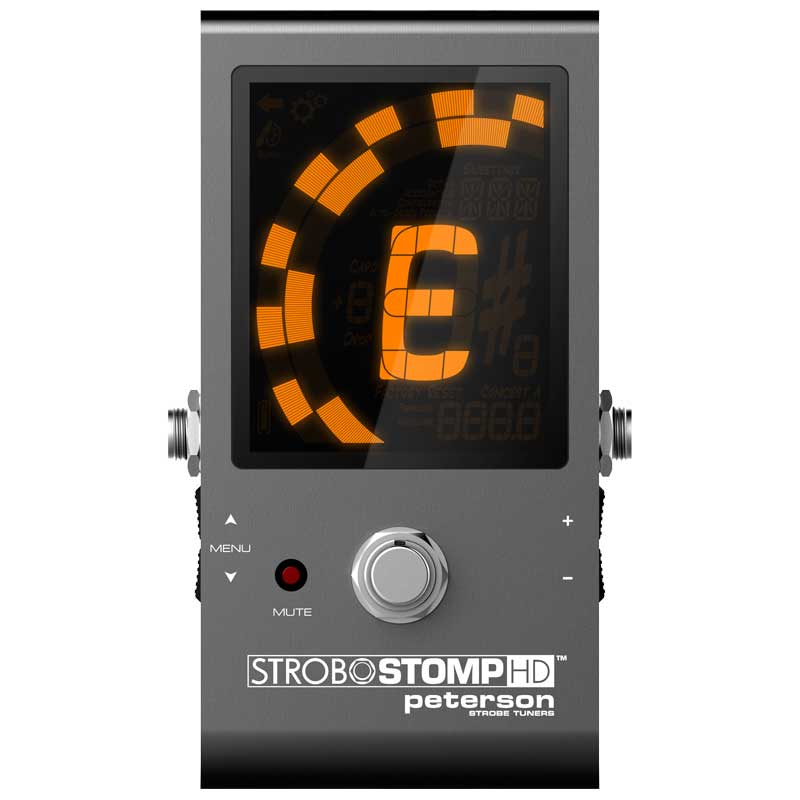 Featuring the largest tuning display Peterson Tuners has ever incorporated into one of their pedal tuners, the StroboStomp HD boasts a high-definition, LCD screen that incorporates a variable color LED backlight. | Peterson Strobe Tuners