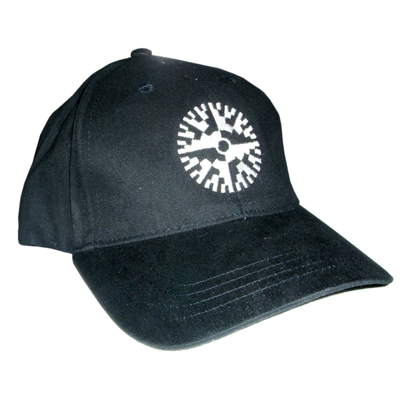 Peterson Strobe Cap with large, stitched, white strobe disc in front and website address in rear. | Peterson Strobe Tuners