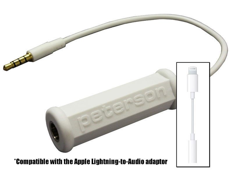 This adaptor cable has been specifically designed to function with your mobile Apple or Android phone/tablet device. | Peterson Strobe Tuners